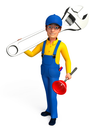 the screw driver: Plumber with screw driver and wrench Stock Photo