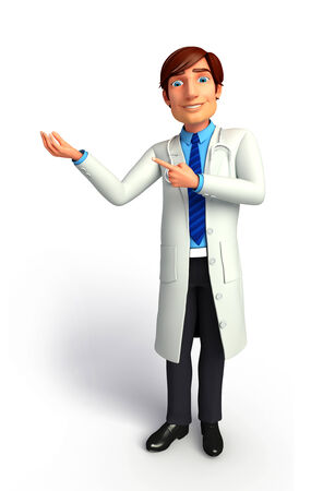 quot: Young Doctor pointing to blank Stock Photo
