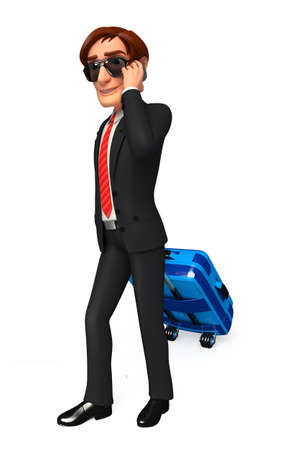 Young Business man with traveling bag photo