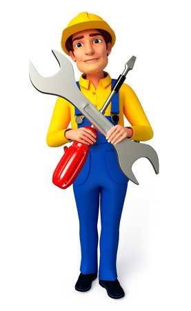 screw driver: Plumber with screw driver and wrench Stock Photo