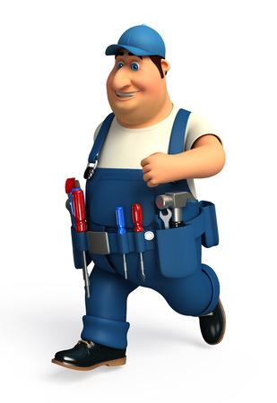 Mechanic with hammer