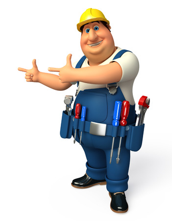 Plumber pointing to blank