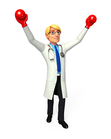 doctor gloves: Doctor with hand gloves Stock Photo