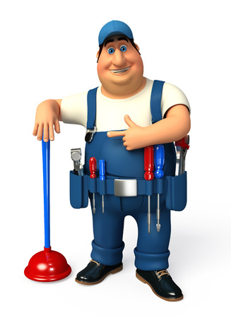 Plumber with toilet plunger