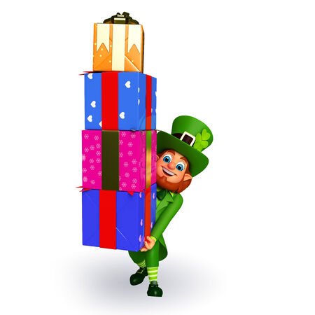 Illustration of leprechaun for patrick day with gifts illustration