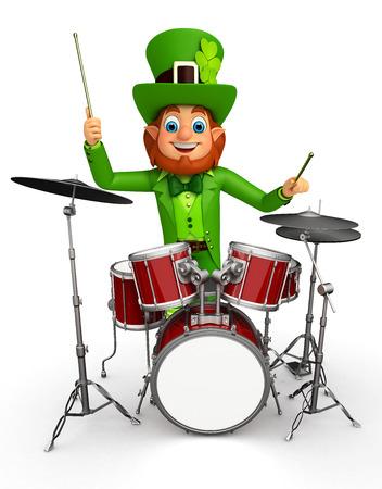 Illustration of leprechaun for patrick with drum set Stock Illustration - 26843396