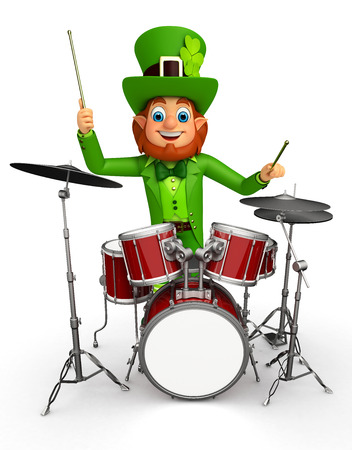 Illustration of leprechaun for patrick with drum set Stock Photo