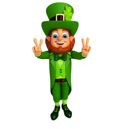 Illustration of leprechaun for patrick day with victory sign illustration