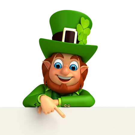 Illustration of leprechaun for patrick day with sign illustration