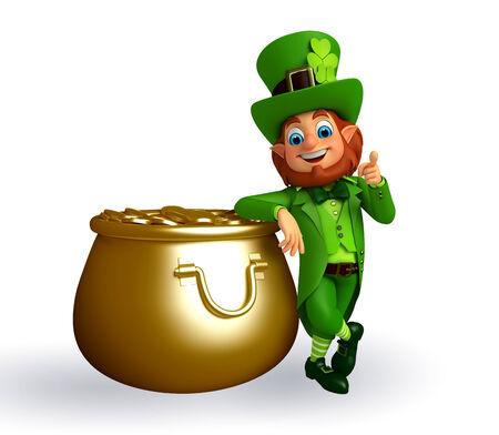 Illustration of leprechaun for patrick day with golden pot illustration