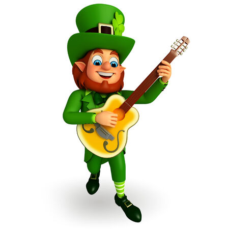 Illustration of leprechaun for patrick day with guitar