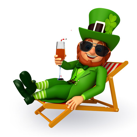 Illustration of leprechaun for patricks day is sitting on the beach chair Zdjęcie Seryjne - 26843368