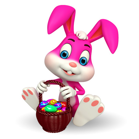 Illustration of Cute Easter Bunny with eggs basket illustration