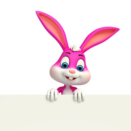 Illustration of Cute Easter Bunny with sign illustration