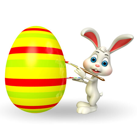 Illustration of Cute Easter Bunny coloring egg illustration