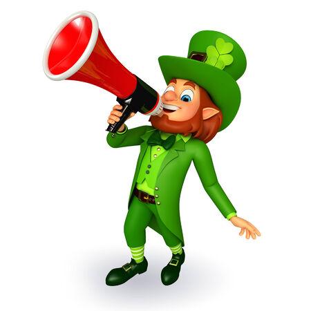 Illustration of leprechaun for patrick day with loudspeaker illustration