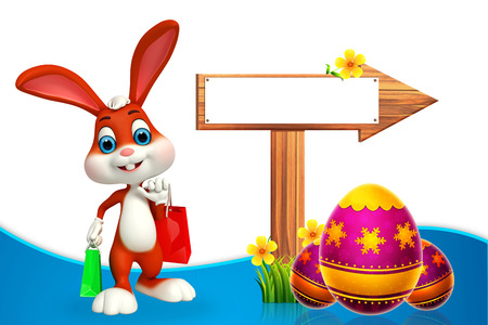 cute easter bunny with wooden arrow photo
