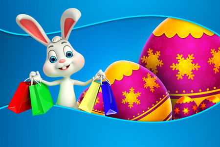 cute easter bunny with shopping bags photo