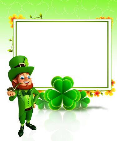 leprechaun for patrick s day with sign photo