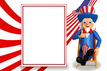 sam: Uncle Sam with sign Stock Photo