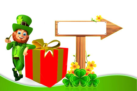 Leprechaun for patrick day with gift box photo