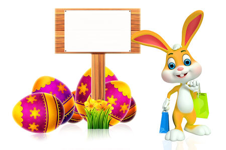 Easter Bunny with sign photo