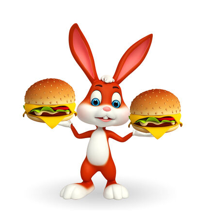 Cartoon Character of Easter Bunny with burgers photo