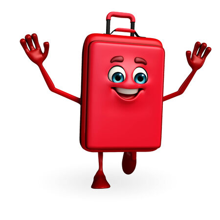 Cartoon Character of Traveling Bag is running photo