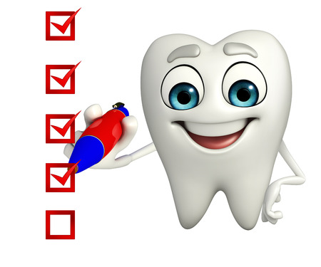 Cartoon character of teeth with check mark Stock Photo