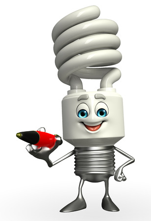 Cartoon Character of CFL with pen Stock Photo