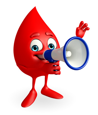 blood bank: Cartoon Character of Blood Drop with loudspeaker