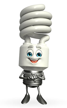 fuze: Cartoon Character of CFL with promise pose Stock Photo