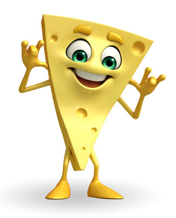 teasing: Cartoon Character of Cheese with teasing pose