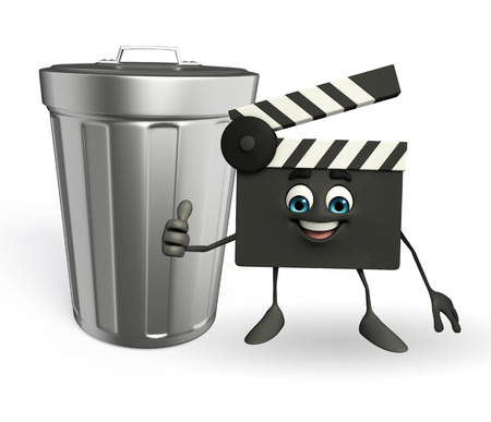 Cartoon Character of Clapper Board with dustbin photo