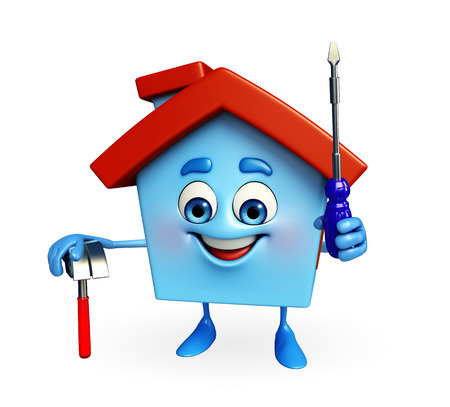 screw driver: Cartoon Charcter of house with hammer and screw driver  Stock Photo