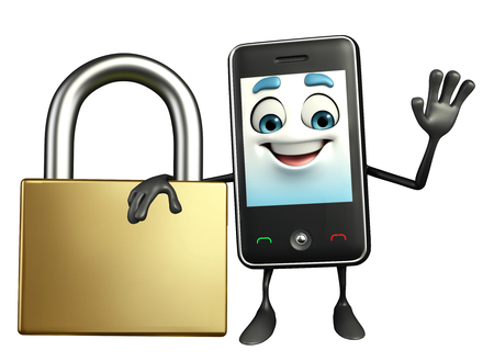 Cartoon Character of Mobile with lock photo