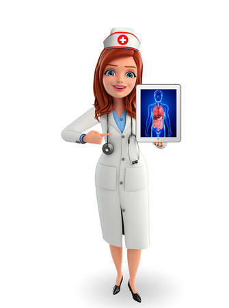 nurse cap: Cartoon Character of Nurse with digestive system anatomy