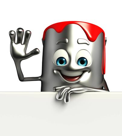 Cartoon Character of paint bucket with sign photo