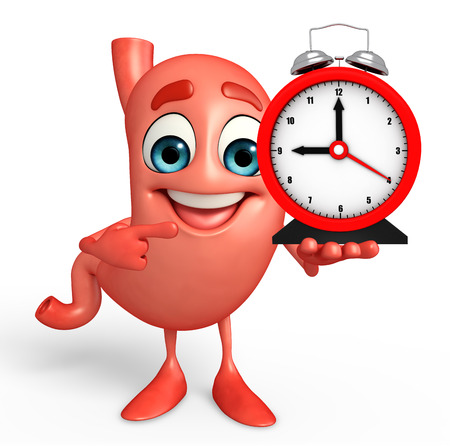 alimentary: Cartoon Character of stomach with table clock Stock Photo