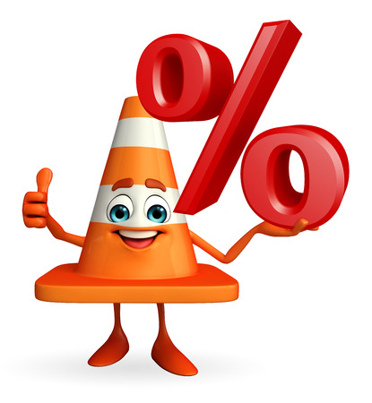 road works ahead: Cartoon Character of Construction cone with percent sign