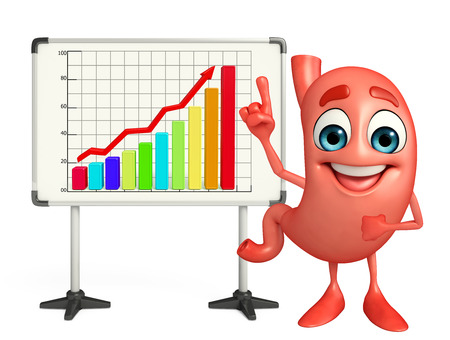 alimentary: Cartoon Character of stomach with business graph