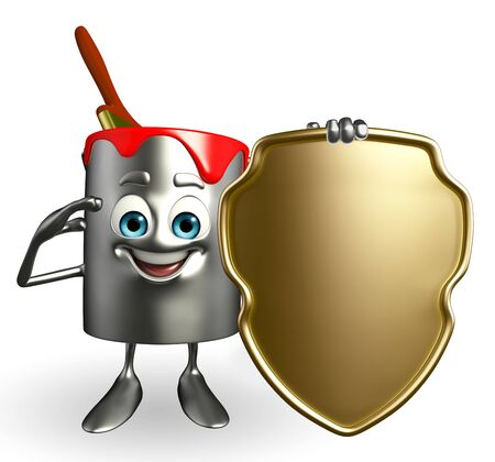 Cartoon Character of paint bucket with shield photo