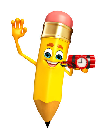 Cartoon Character of pencil with time Bomb photo