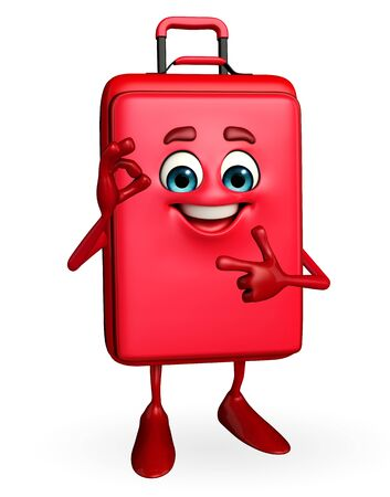 Cartoon Character of Travelling Bag with best sign photo