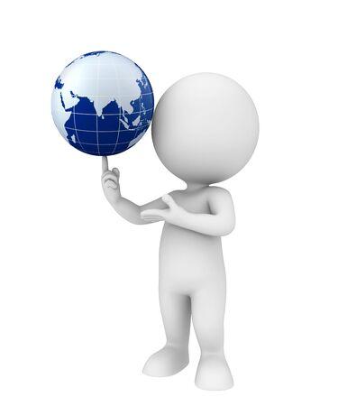 Illustration De Caractere Blanc Avec Un Globe Terrestre Banque D Images Et Photos Libres De Droits Image 29930317