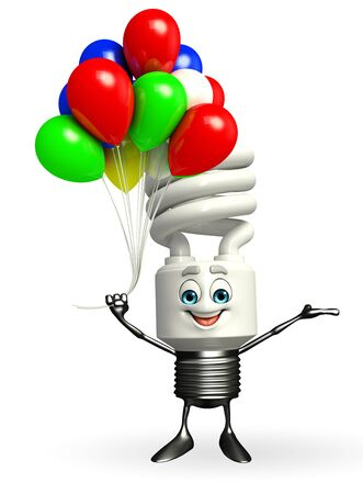 Cartoon Character of CFL with Balloon Stock Photo