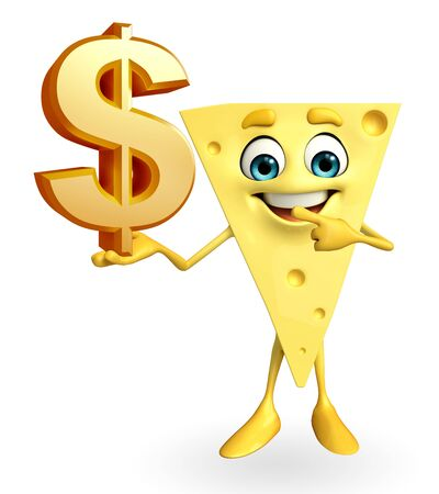 Cartoon Character of Cheese with dollar sign