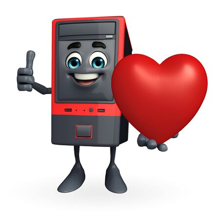 Cartoon Character of Computer Cabinet with heart photo