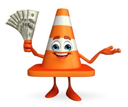 road works ahead: Cartoon Character of Construction cone with dollars