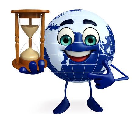sand clock: Cartoni animati di Globe con l'orologio della sabbia